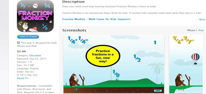 fraction monkey app