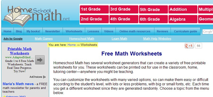 Homeschool Math Worksheets | Best Kids Websites