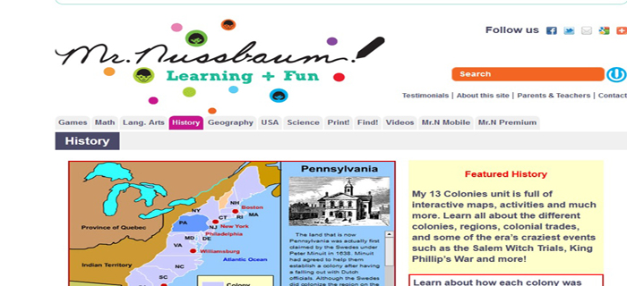 mr nussbaum best kids websites