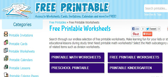 Free Printable Worksheets | Best Kids Websites